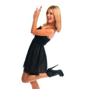 Woman In Black Dress Happy
